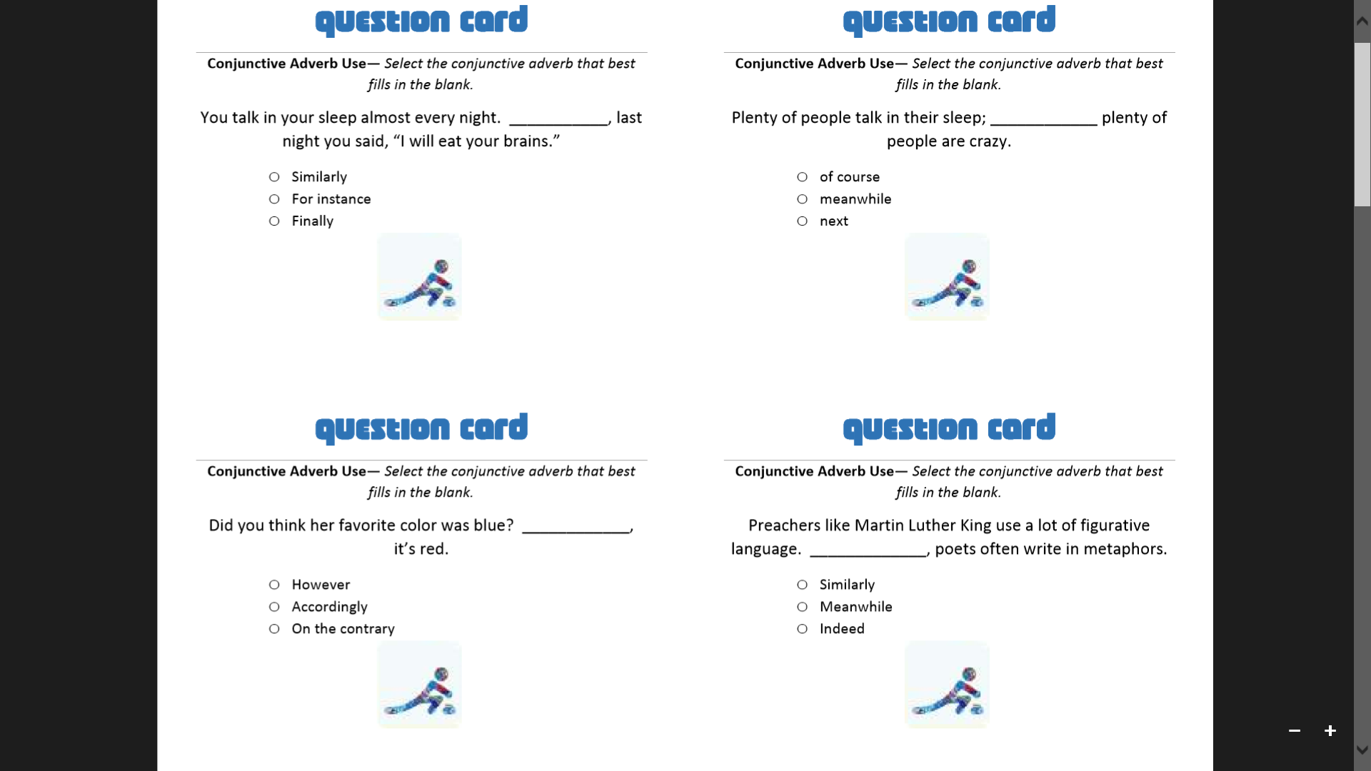 Conjunction Curling Question Card Example