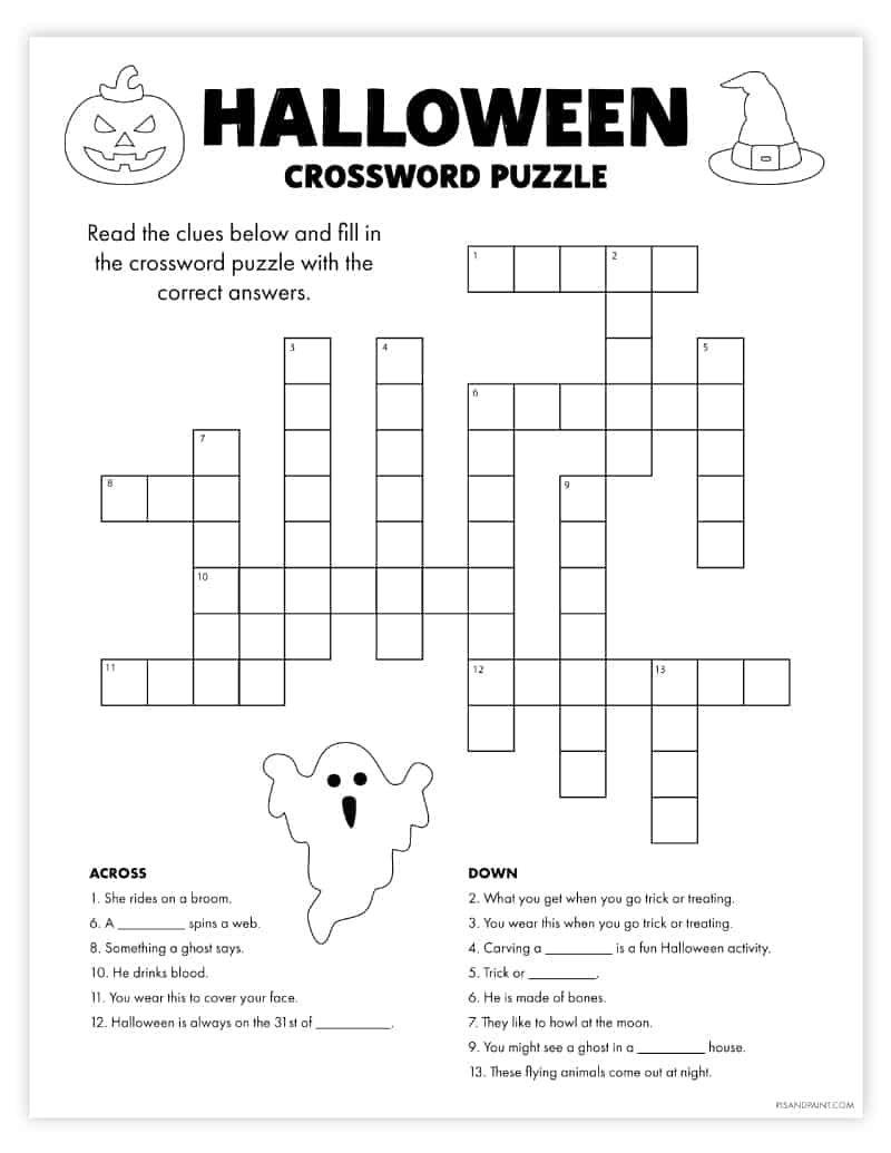 Free Printable Halloween Crossword Puzzle Halloween Crossword Puzzles Halloween Printables Halloween Printables Free