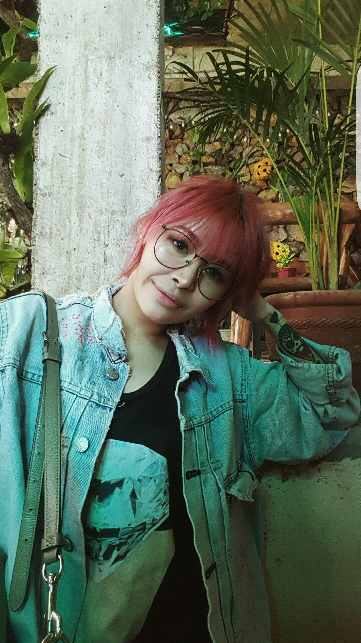 Art Hoe, Pink Hair, Denim Jacket,Asian Girl With Glasses -3300