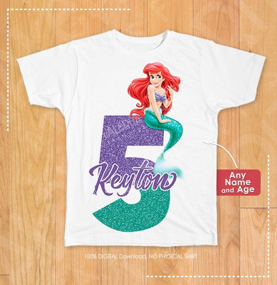 Little Mermaid Iron On Transfer Birthday Shirt Party Supplies Disn