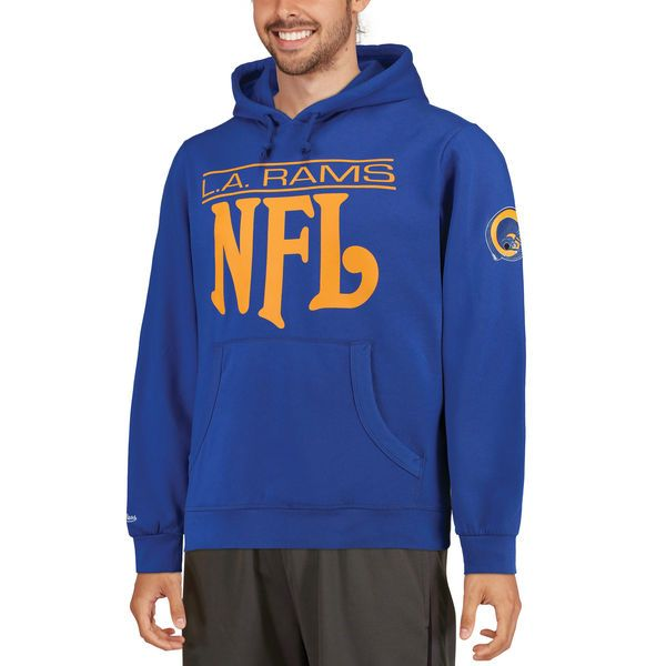 c334ed66 Men's Los Angeles Rams Mitchell & Ness Navy Passing Yards Pullover ...