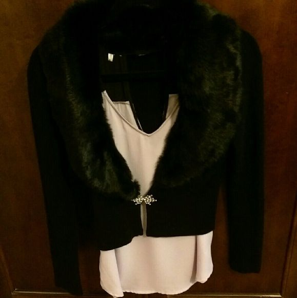 Fur collar black cardi Perfect with jeans and boots or over your formal party dress. Gorgeous rhinestone clasp. XOXO Sweaters Cardigans