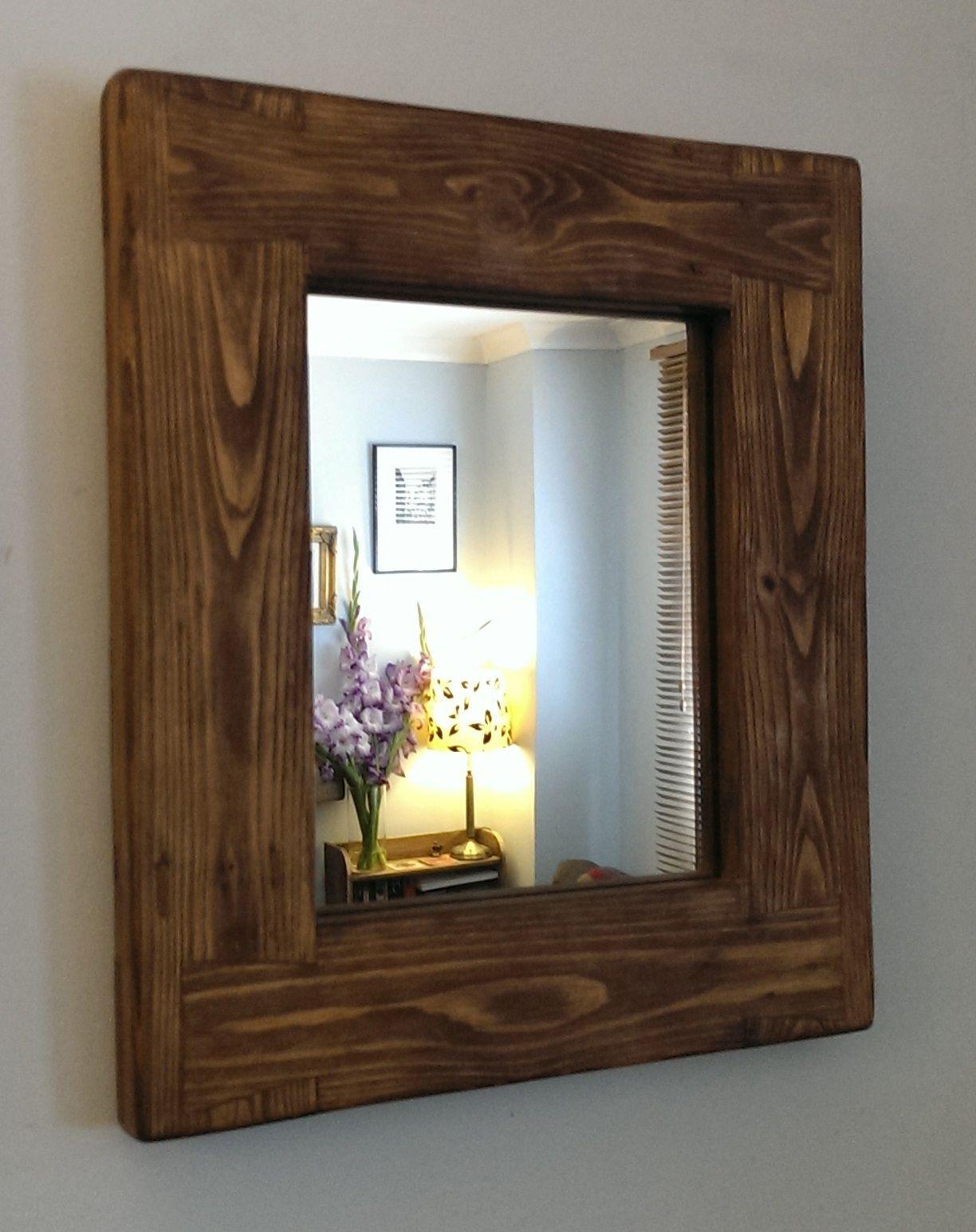 Wooden Wall Mirror Chunky Natural Wood Frame Dark Wood Rustic
