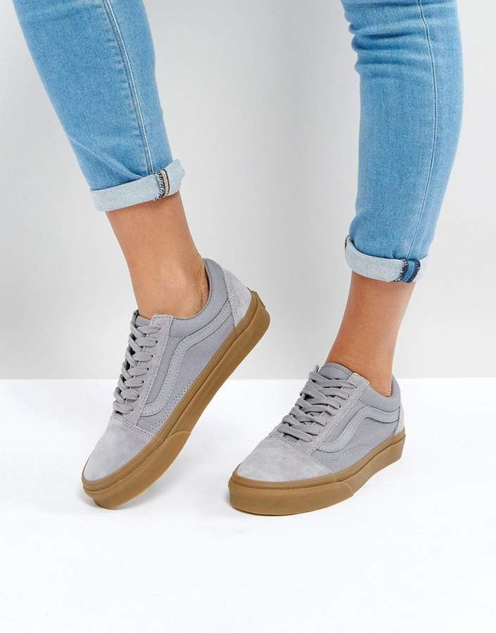 848e916f021 Vans Suede Old Skool Sneakers In Gray With Gum Sole | Shoes in 2019 ...