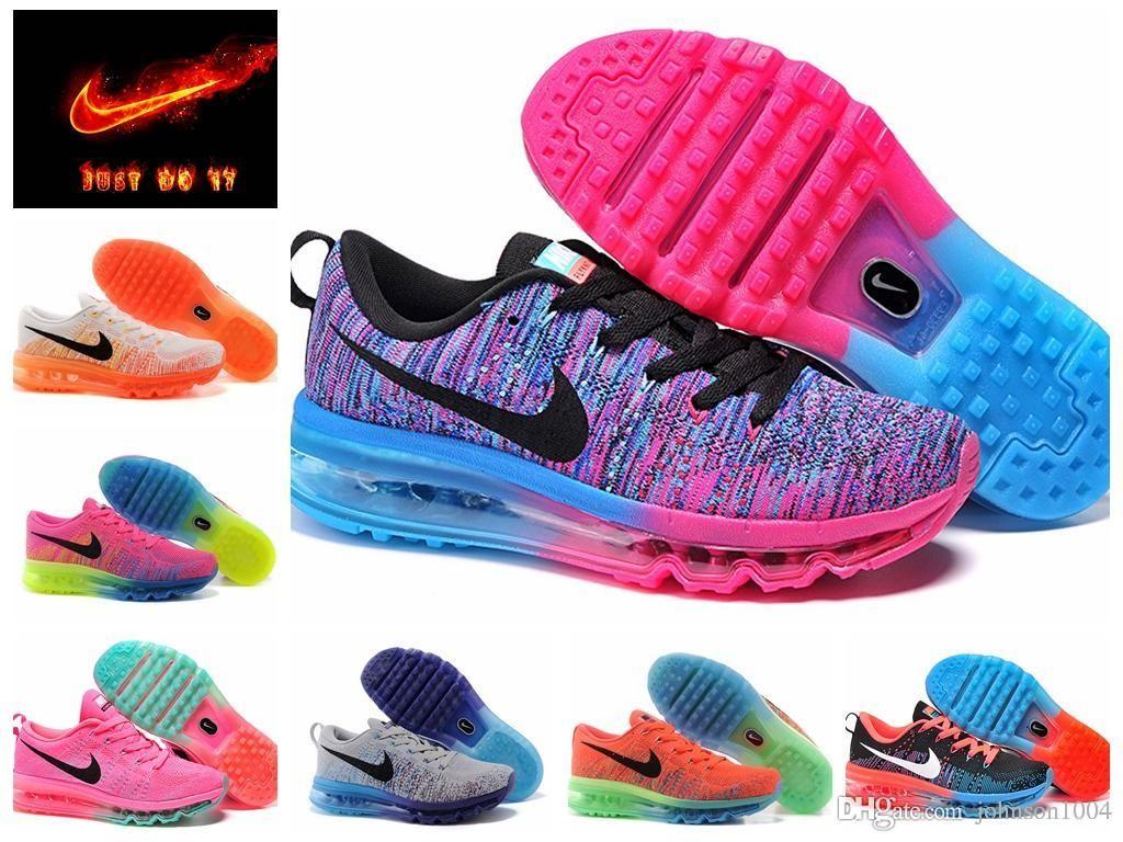 Nike Air Max 2016 Flyknit Hommes Chaussures De Course - Bleu / Pierre Précieuse Orange