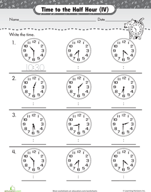 Time To The Hour And Half Hour Worksheets: on the half hour telling time with clockwork cat school ,