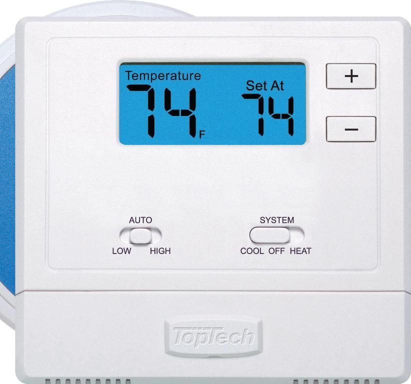 Toptech Tt N 631w Wireless Wall Thermostat With Base Module Large Blue Backlighting Face For Ea Digital Thermostat Programmable Thermostat Wireless Thermostat
