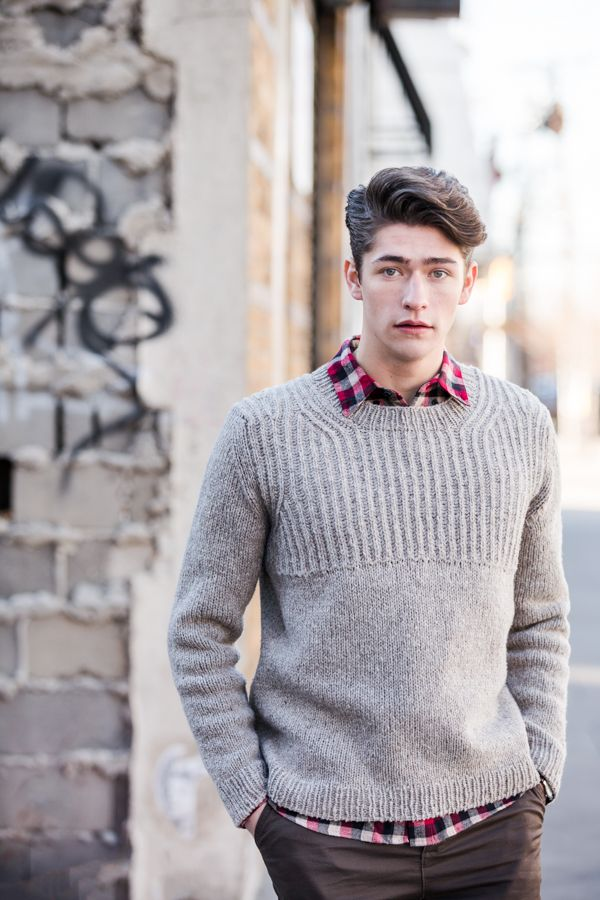 For dreamers and designers, a pullover that's equal parts strong and sensitive.This masculine version of Jared's popular Oshima pattern (designed for women in our BT Fall 13 collection) uses double-stranded Loft to create a cozy brioche yoke. Decreases for the arm holes and neck opening are set in from the edges to form echoing curves …