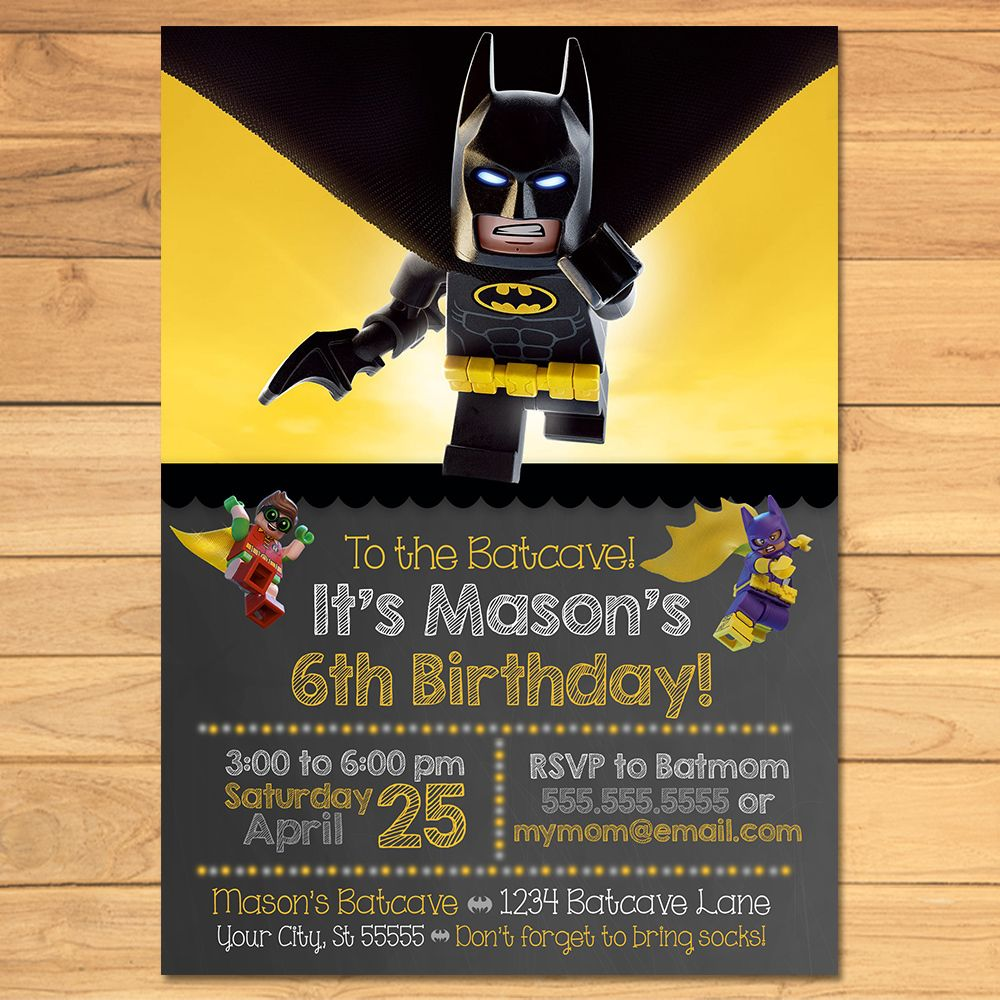 Lego Batman Birthday Invitation Chalkboard Yellow Black * Lego ...