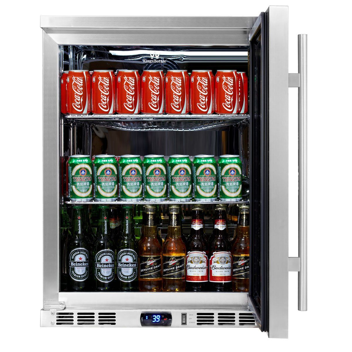 Kingsbottle 140 Can 1door Under Counter Beverage Cooler With Heating Glass Stainless Steel Beverage Center Large Wine Coolers Glass Door Refrigerator