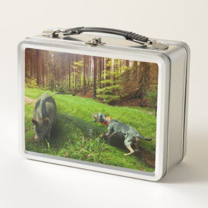 Catahoula Leopard Dog Baying Feral Hog In Forest Metal Lunch Box