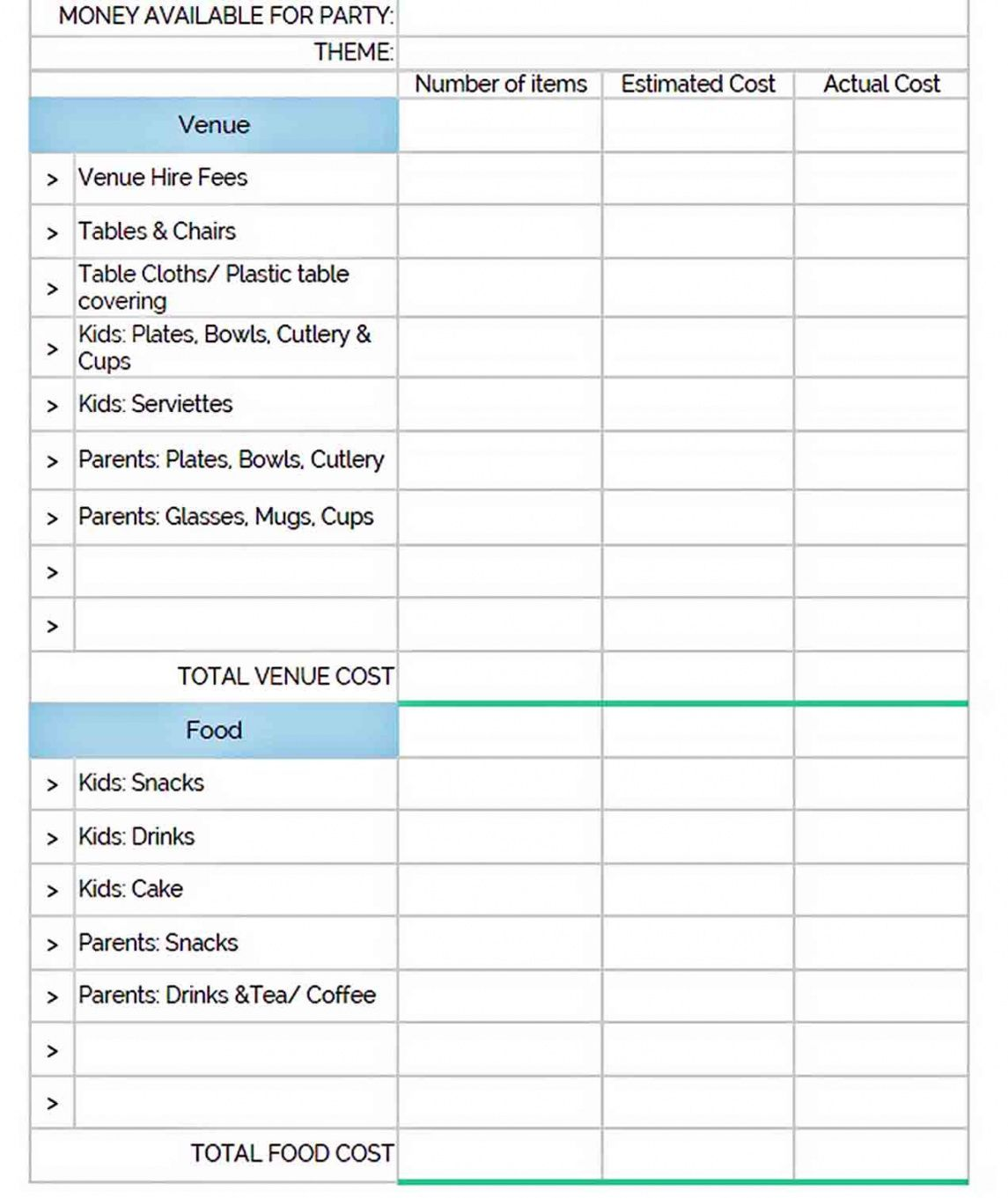 Get Our Image Of Bachelorette Party Budget Template For