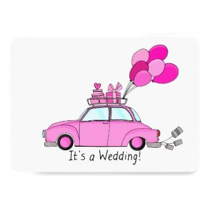 #wedding - #Pink Cartoon car Wedding Invitation