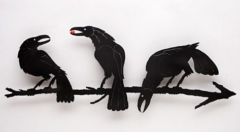 Download Abraxas Crow - steel 3 Crows On A Branch Sculpture - would make an awesome tattoo   Crow art ...