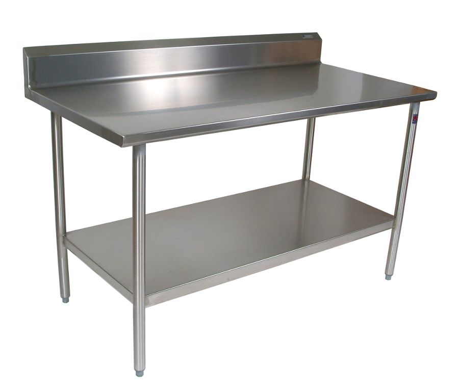 JohnBoos Stainless Steel Work Table GA SS Top Riser GA SS - Stainless steel prep table with shelves
