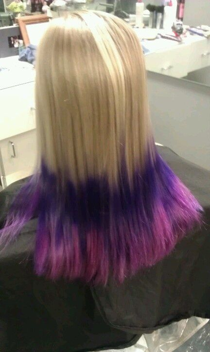 Pink Purple Color Ombre Colored Tips Hair Done By