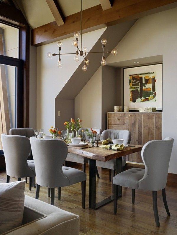 Wohnideen Esszimmer Retro Einrichtung Blaue Stühle Wand: | Wohnen