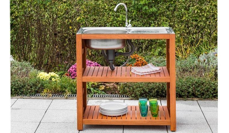 Der Outdoor Spultisch Wird Inklusive Edelstahlspule Und Wasserhahn Sowie Schlauchende Zum Anschluss Eines Gartenschlauches Spultisch Gartentisch Gunstig Tisch