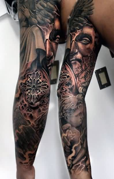 Face Sleeve Tattoo: Realistic Angel Face Tattoo On Sleeve - Copy