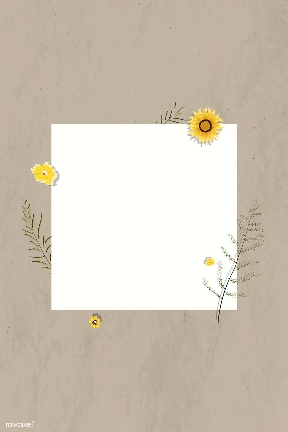 Download premium vector of Blank square sunflower frame vector 1202897