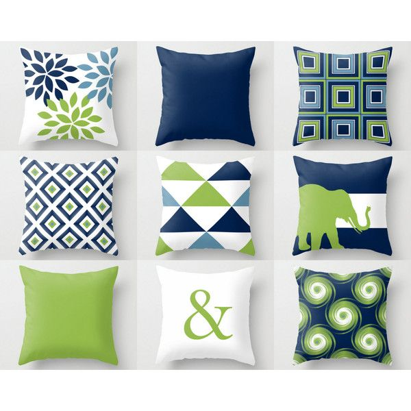 Throw Pillow Covers Navy Blue Green White Stone Couch Cushion Cover 26 Liked On Polyvore Feat Living Room Pillows Pillow Cover Design Home Decor Colors