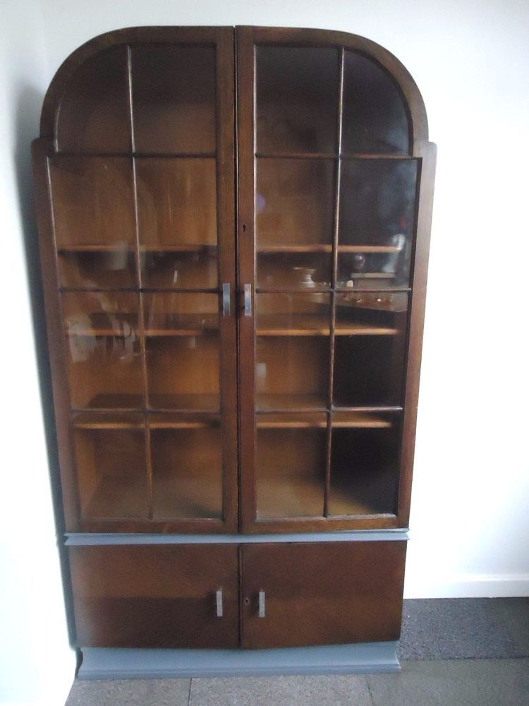 VINTAGE DECO BOOKCASE GLASS DISPLAY HALL CABINET and CUPBOARD