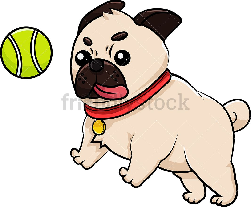 Pug Playing With Tennis Ball Cartoon Vector Clipart Friendlystock Pugs Pug Dog Tennis Ball