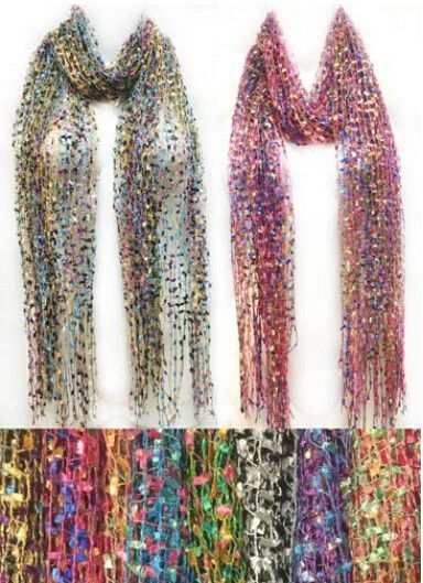 multicolor net style scarves with spring fringe Case of 24