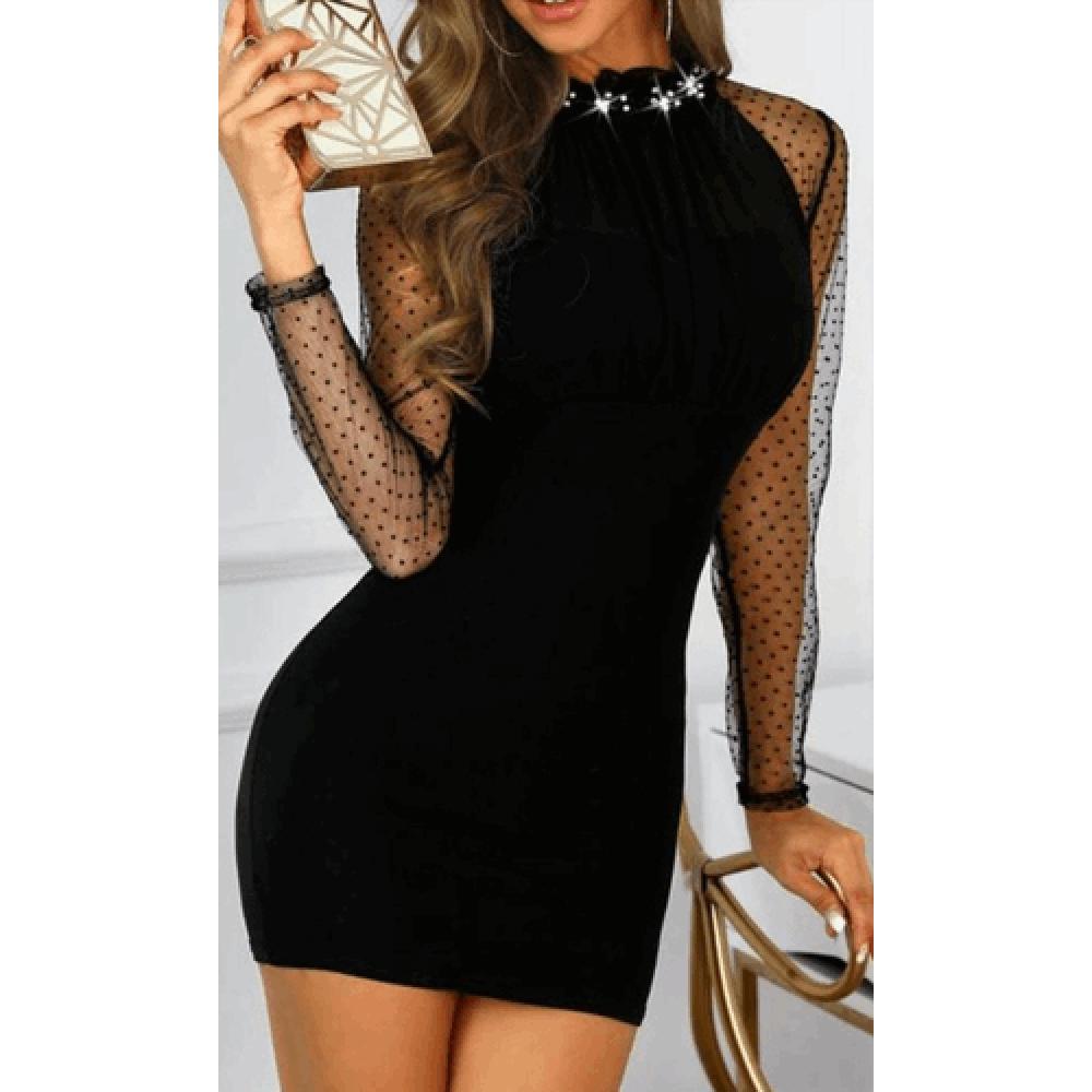 Boyun Tas Aksesuarli Kollari Tul Akrelik Elbise In 2020 Bodycon Dress Shop Bodycon Dresses Black Dress