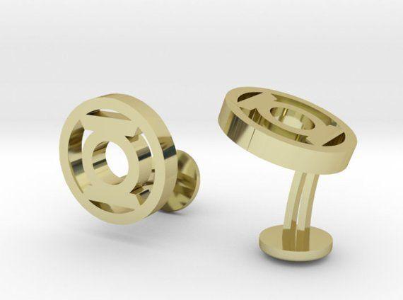 Green Latern Wedding Cufflinks | Personalized Engraving Geek Jewelry Groomsmen Superhero Gift Set | Gold| Silver | Rose Gold | Bronze #superherogifts