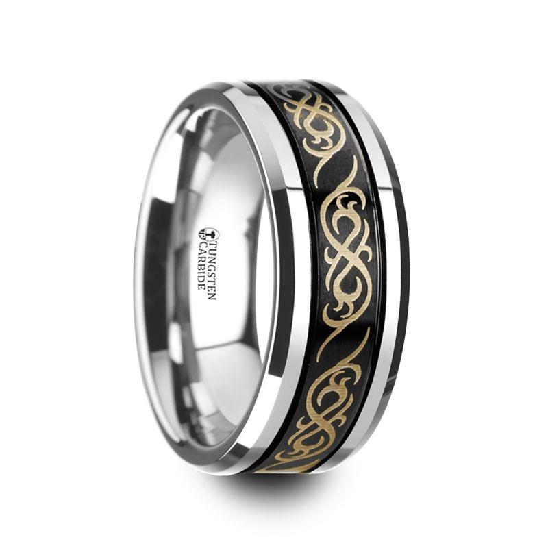 Wedding Bands Celtic Bands Titanium 8mm Laser Design Brushed Band Size 7