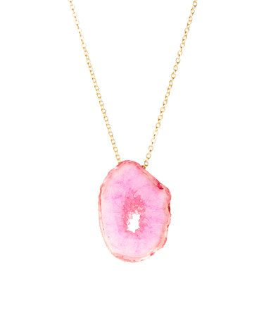 Another great find on #zulily! Gold & Pink Sparkle Drusy Pendant Necklace #zulilyfinds