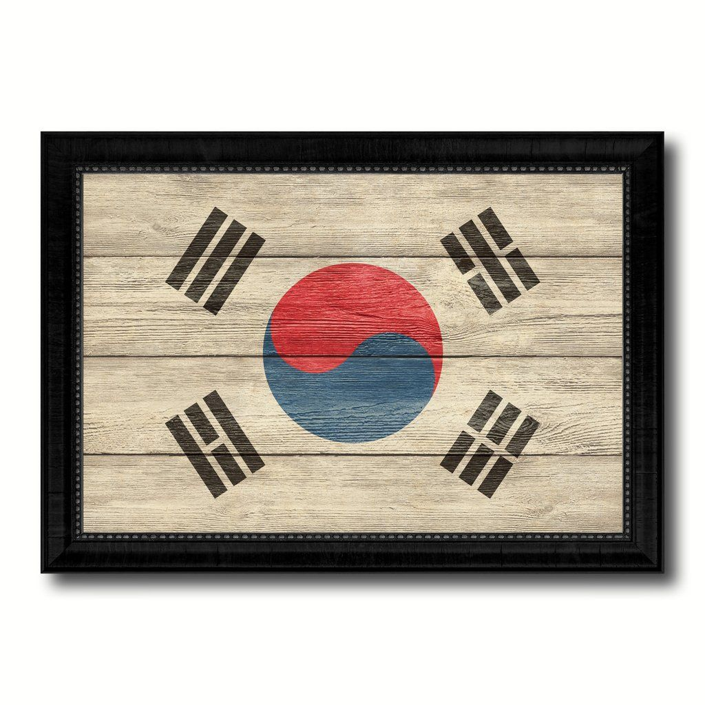 Korea Country Flag Texture Canvas Print With Black Picture