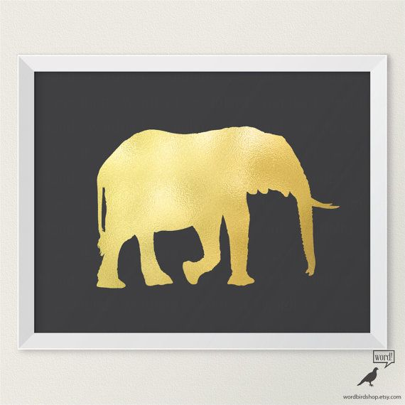 Matte Gold Elephant Wall Decor, Gold Elephant Print, Animal Art ...