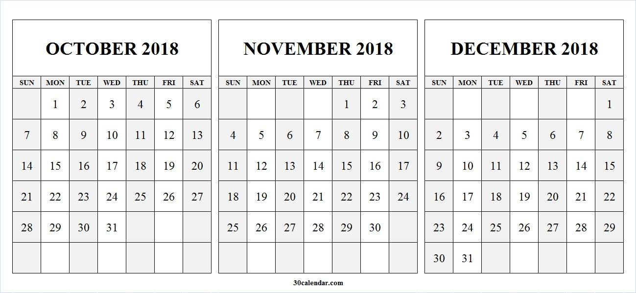 printable blank october to december 2018 calendar this 30 day calendar portal provides yearly quarterly monthly and weekly calendar template