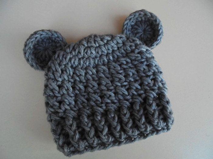 Gray bear hat, newborn bear hat, baby boy hat, teddy bear baby hat ...