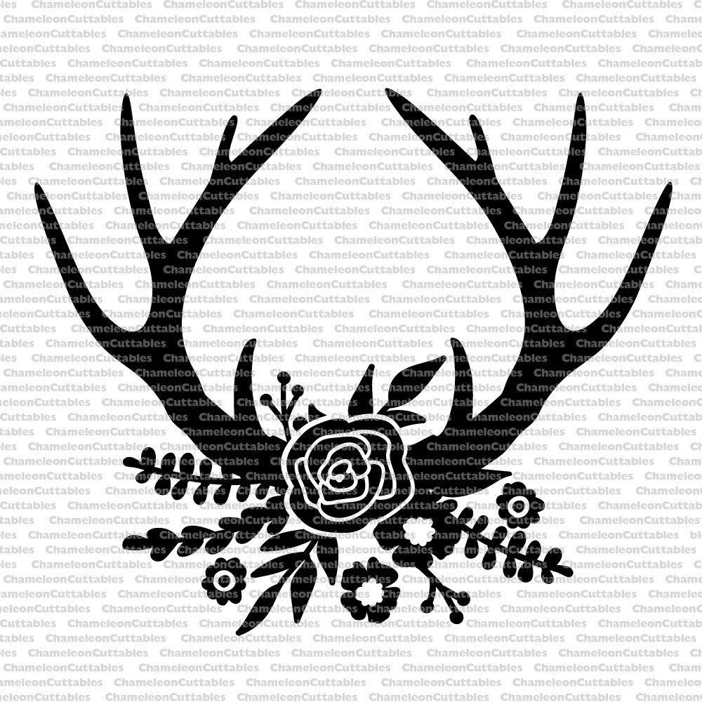 floral antlers black, svg, cut, file, rustic, flowers