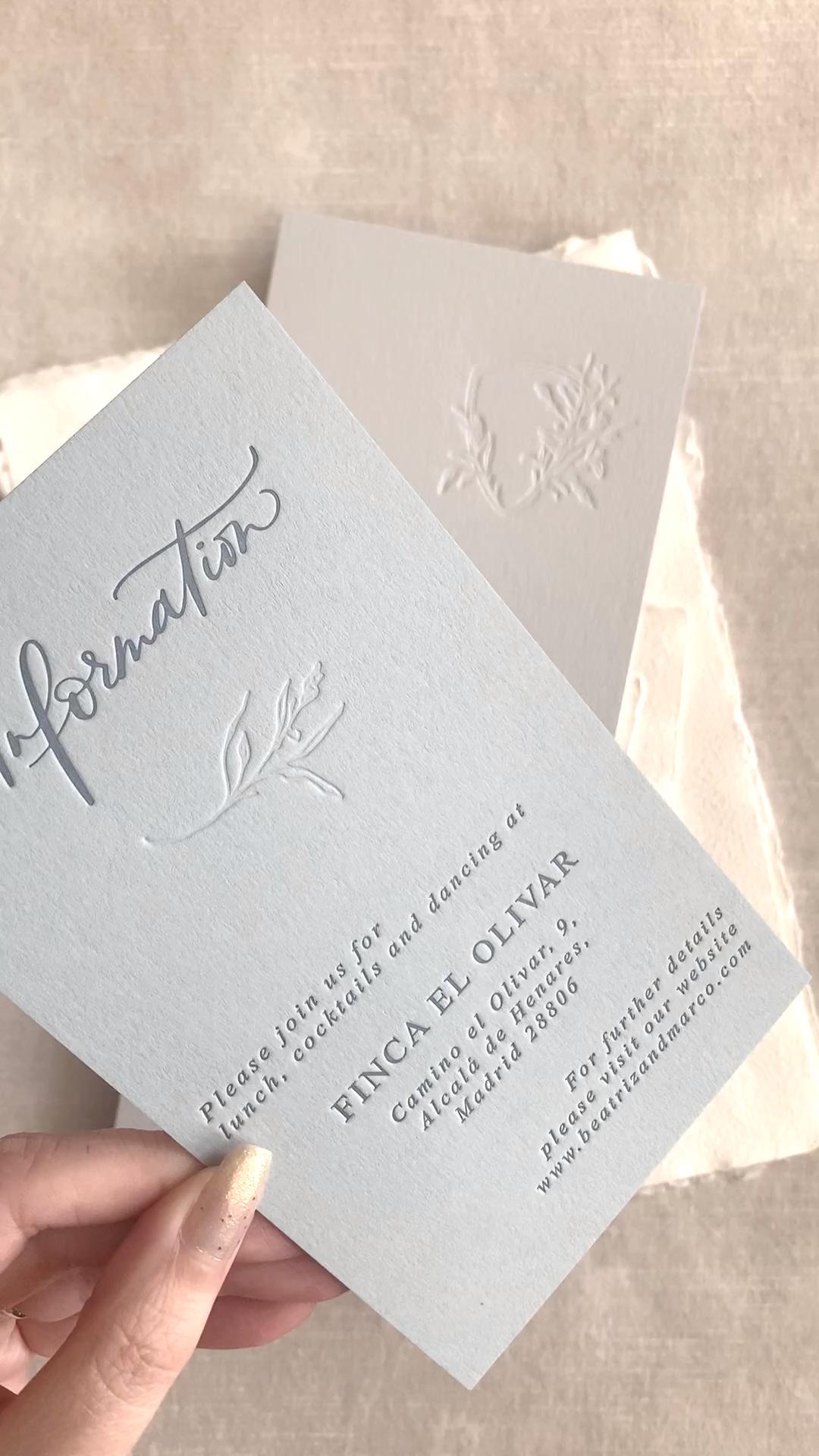 Wedding Menu Letterpress, Letterpress wedding invitations