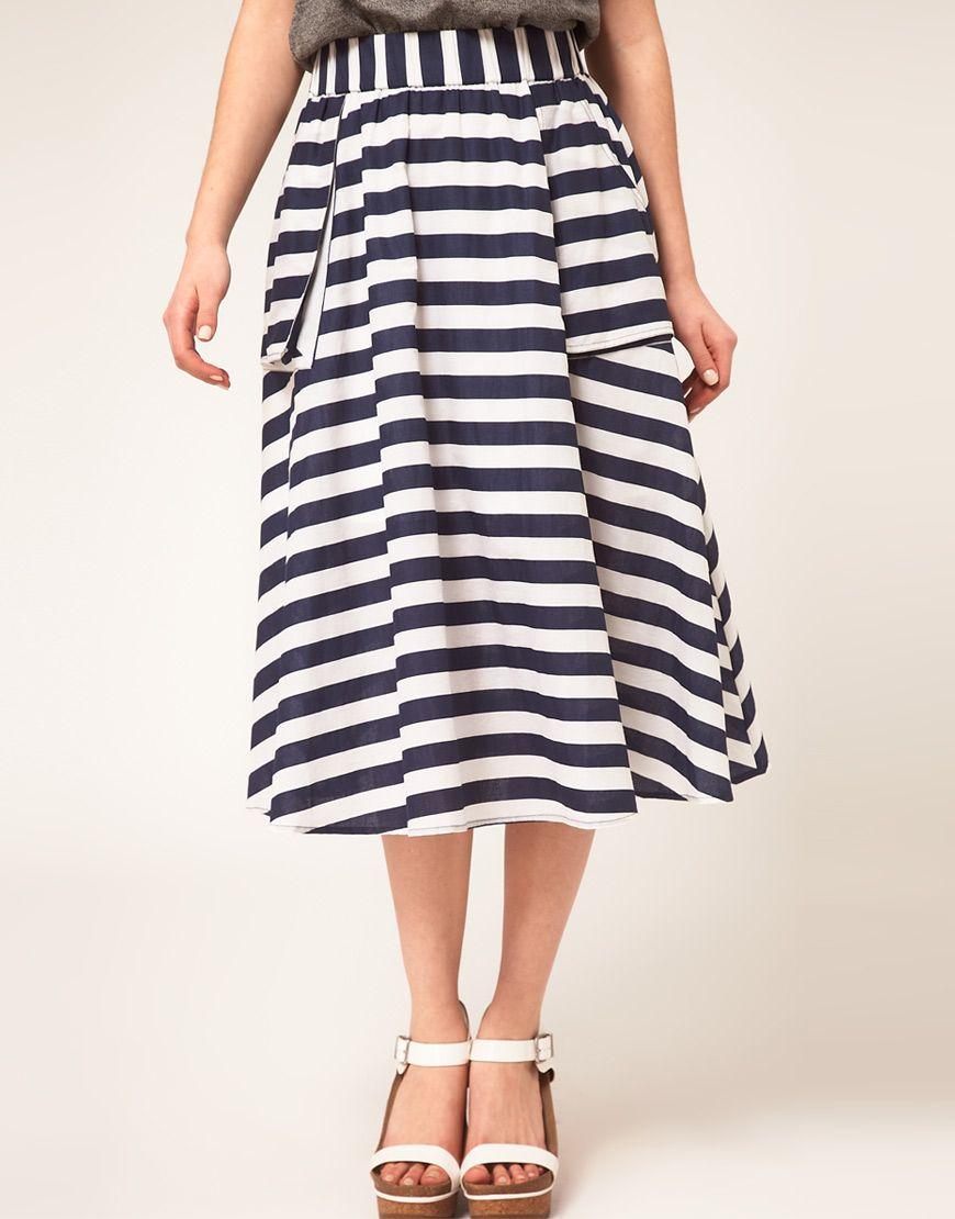 ASOS Full Skirt in Stripe