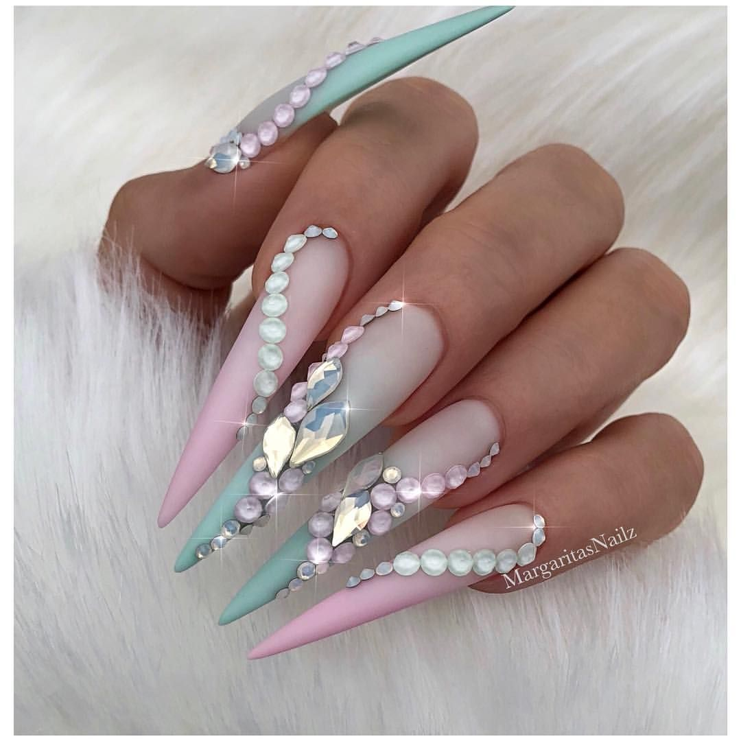 Pink Ombré matte stilettos Mint green nail art design Swarovski fashion  spring summer nails Pastel nails - Pink Ombré Matte Stilettos Mint Green Nail Art Design Swarovski