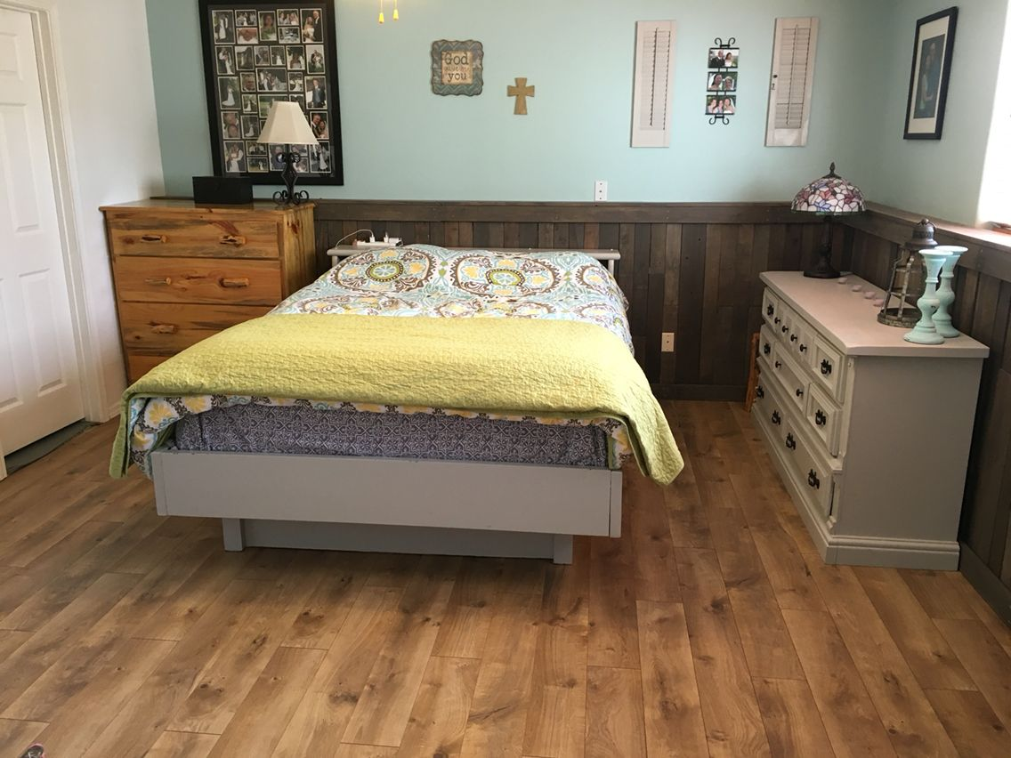 Camden oak laminate from Costco and re purposes pallets