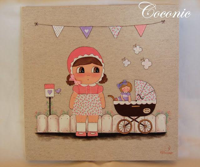 COCONIC: Cuadro de niña con muñeca jugando en el jardín con carrito de bebé. Pintado a mano y personalizado.