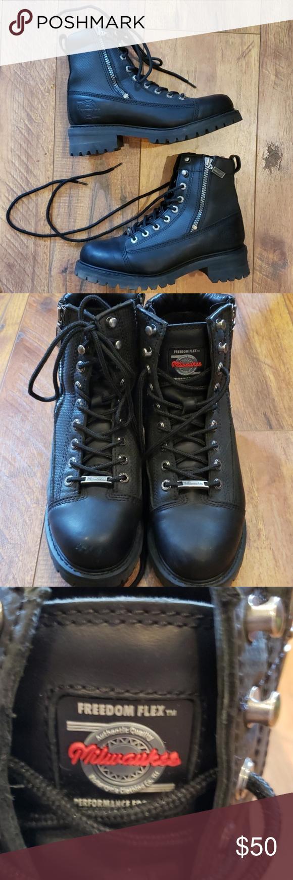 Milwaukee Freedim Flex Biker Boots Size 7 5 Biker Boots Boots Shoe Boots