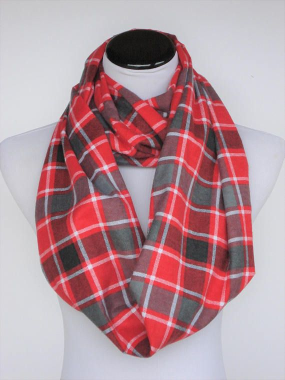 29c4a3f9e58b7 Plaid infinity scarf, Christmas scarf red gray Buffalo plaids loop scarf,  soft warm scarf, wide scarf, flannel scarf for women, men & child