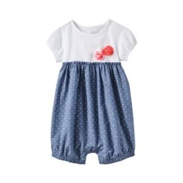 $7.99 JUST ONE YOU® Made by Carters Infant Girls' Romper - White/Light Denim