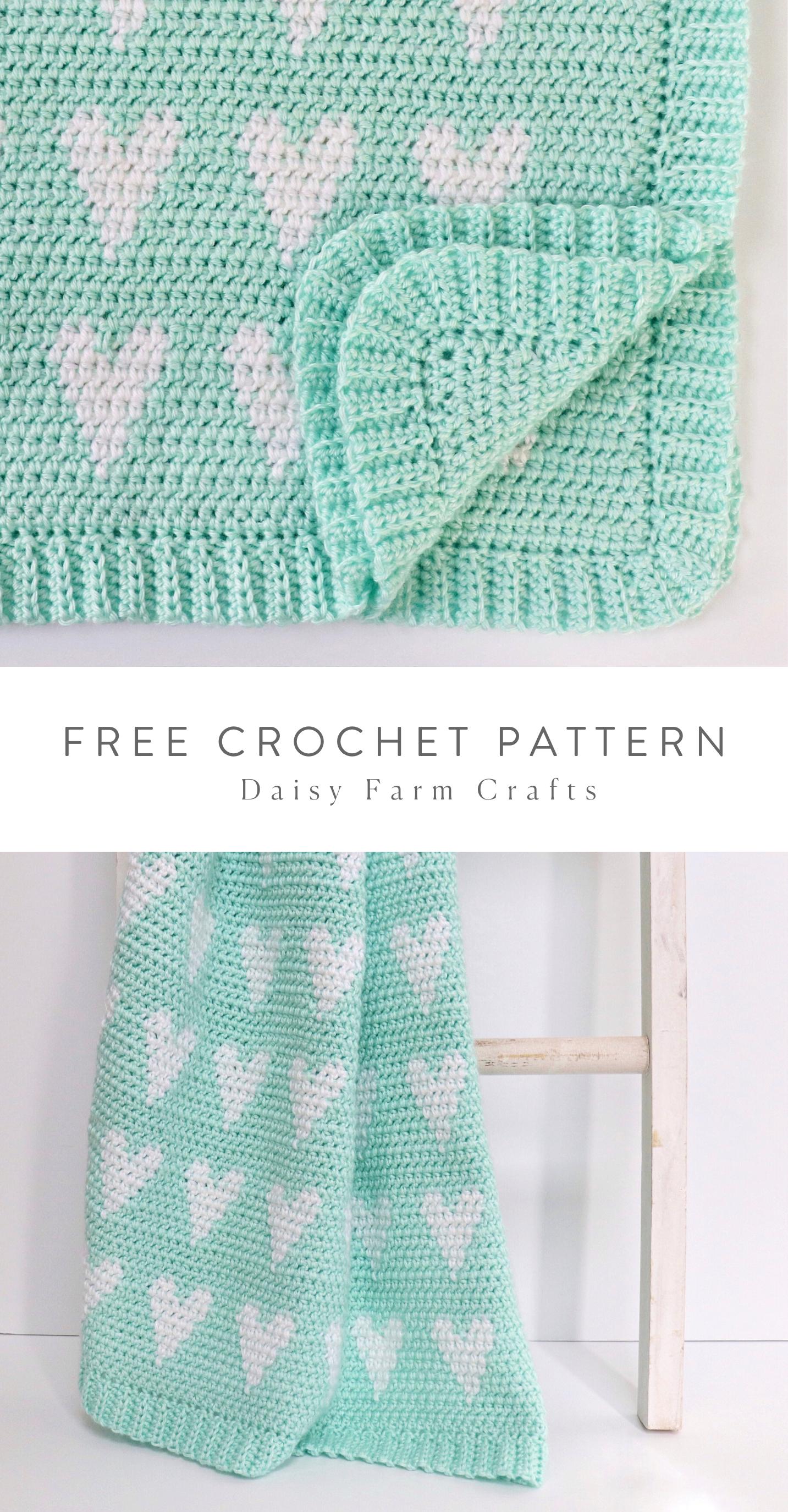 Free Pattern - Crochet Modern Hearts Baby Blanket