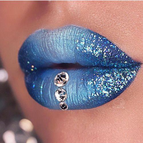 "sugarpillcosmetics: ""Sweet @sara_mua_ created this lovely blue pout with the help of #sugarpill Lumi eyeshadow! """