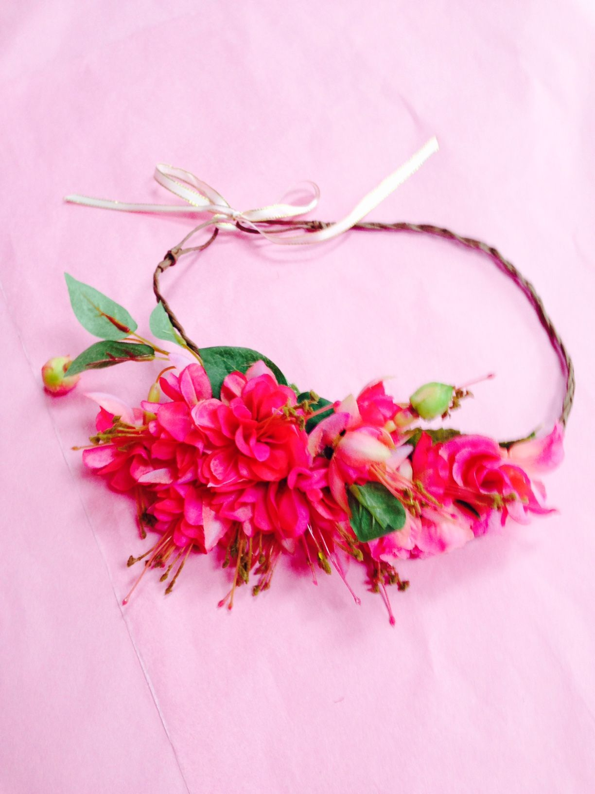 Pink fuschia flower crown wreath 2475 beautiful posy of pink pink fuschia flower crown wreath 2475 beautiful posy of pink fuschia on rustic gyspy wire with thin pale pink and gold ribbon handmade by rosadior a izmirmasajfo