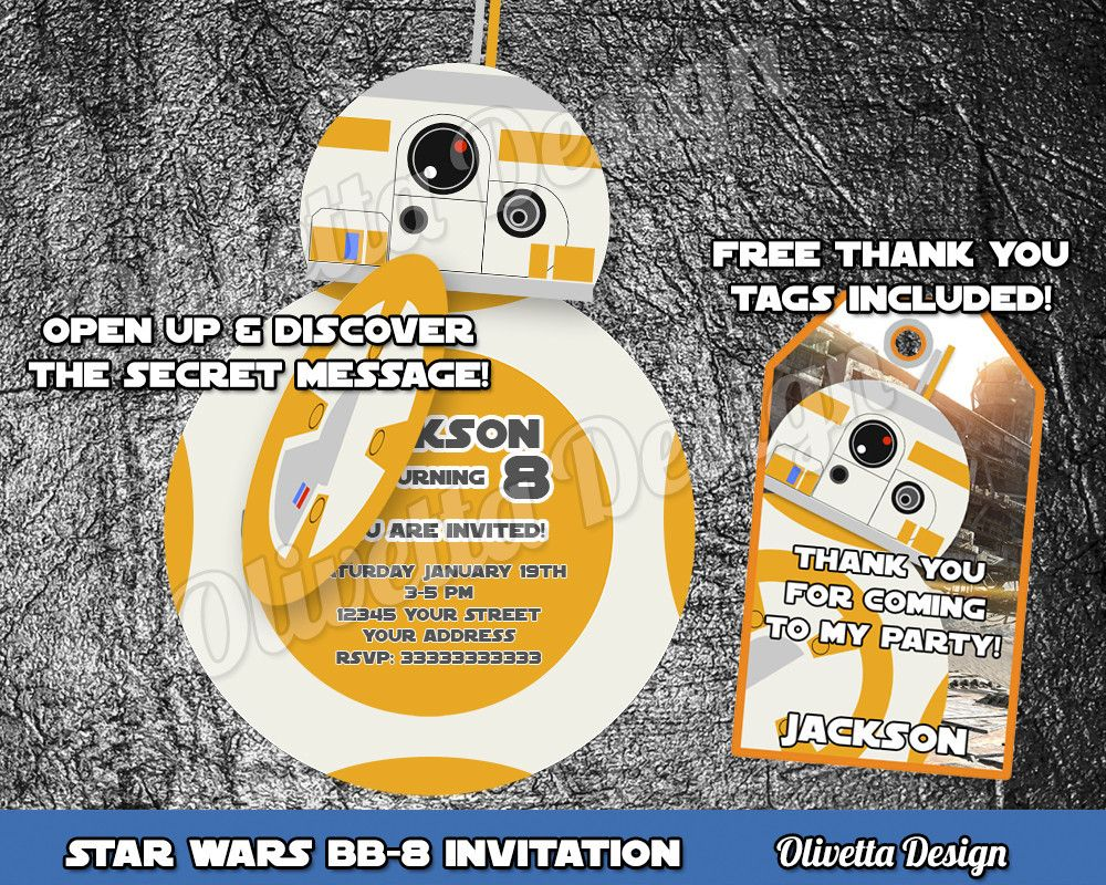 BB8 Invitation, Force Awakens Invitation, Star Wars Birthday ...