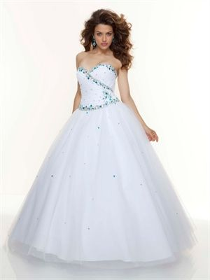 Ball Gown Sweetheart Beaded Tulle White/Turquoise Prom Dress PD11209 ...